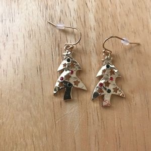 Jewelry - Christmas Tree Earrings Red Green Stones Open Cut